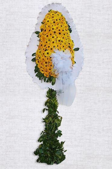 Sarı Çiçekli tek katlı gelin duvağı