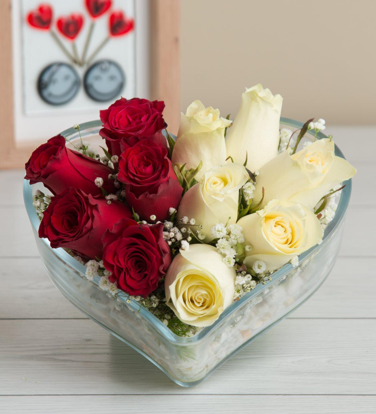 Kalp camda kırmızı ve beyaz güller