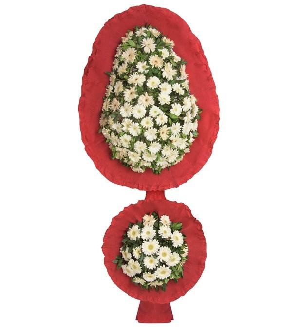 Kırmızı Beyaz Çiçekli iki katlı gelin duvağı